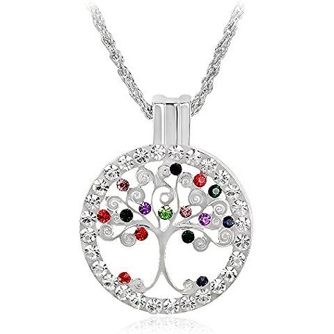 Skyllc® L'albero della vita disco cristallo strass intarsiato ciondolo collana argento - Una Collana Simboleggia