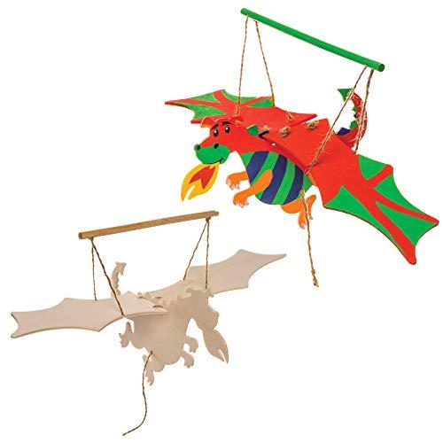 Baker Ross- Kits Marionetas Madera Forma dragón alas