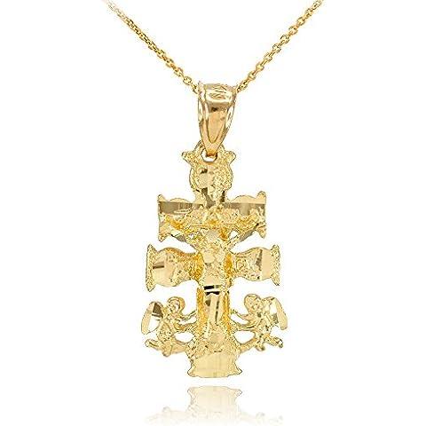 Donne Collana Pendente 10 Ct Giallo Oro Caravaca Crocifisso Croce Fascino (Viene Fornito Con Una Catena Da 45cm)
