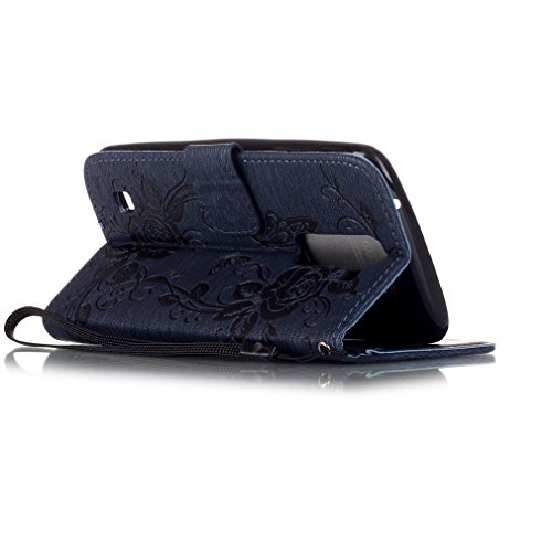 SZHTSWU Hülle für iPhone 6 6s, Magnetverschluss Schmetterling Blumen Series mit Lanyard Strap Design PU Leder und Bling Strass Glitter Tasche Weiche Silikon Schutzhülle Hülle Flip Wallet Case Handyhül Dunkelblau