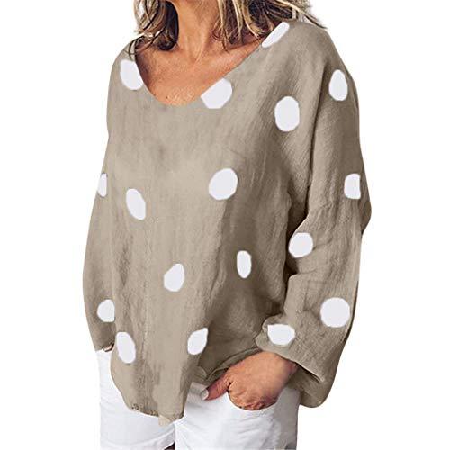 Frauen Baumwolle Und Leinen Langarm O Neck Printed Shirt Tops Bluse Langärmliges, Bedrucktes Hemd Aus Baumwolle Und Leinen Mit V Ausschnitt -