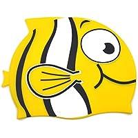 Gorra de natación diseño divertido gorra de natación de silicona para niños - patrón de dibujos animados (rosa, estándar) (Standard, yellow)