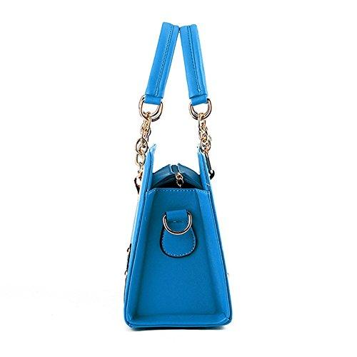 Borse a Mano per Donna in PU Pelle con Tracolla di Colore Solido Blu scuro