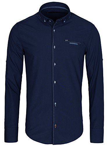 OZONEE Herren Klassisch Hemd Freizeithemd Langarm Shirt Casual Slim Fit RAW LUCCI 796 Dunkelblau_RL-781K