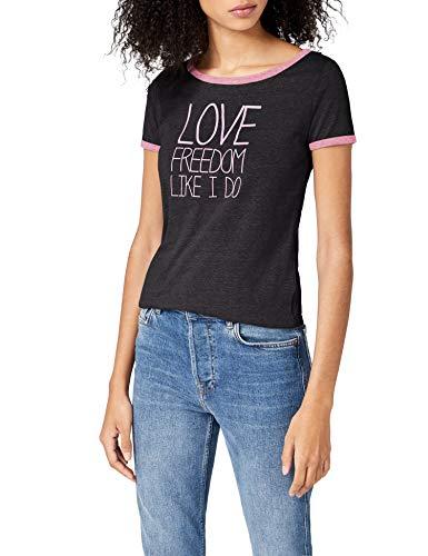 Intimuse Damen T-Shirt mit Print, Schwarz (Schwarz Melange 073), Small