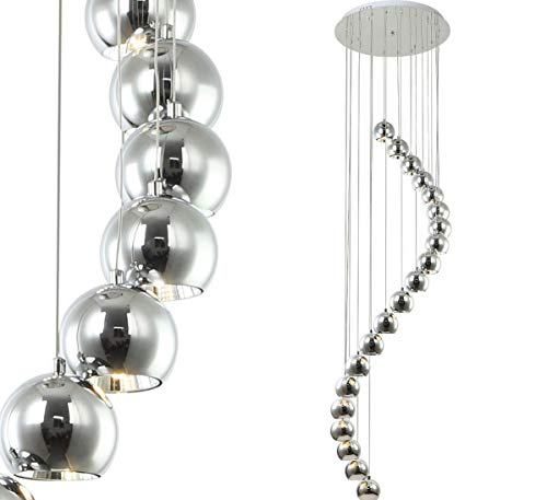 2m lang XXL Led Hängelampe Pendel Decken Lampe Leuchte Chrom Spiral Ø50cm Lewima Snak