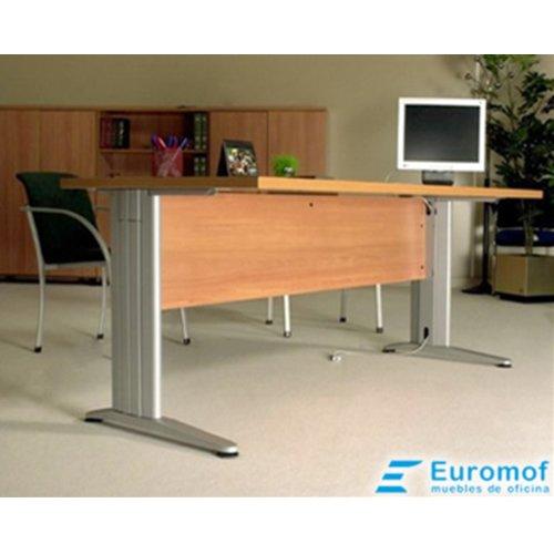 Mesa de Oficina. Euro 3000. Color Blanco. 160x80 cm. Patas en T de Metal.