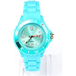 AccessoriesBySej 24 Colours - SMALL LIGHT BLUE 33mm CHILDREN'S KIDS GIRLS BOYS LADIES WOMENS SMALL 33mm QUARTZ SILICON /RUBBER STYLE JELLY SPORT WRIST WATCHES UNISEX DATE