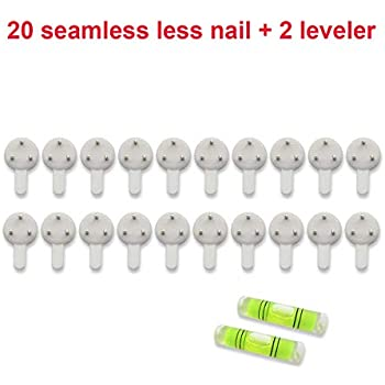 Art Street Hard Plastic White Set of 20 White 3-Pin Seamless Nail with 2 Spirit Leveler for Photo Frame Wall Picture Frame Hooks Hangers