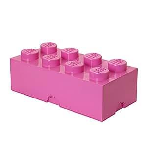 Lego Brique de rangement 8 plots, Boîte de rangement empilable, 12 l, rose