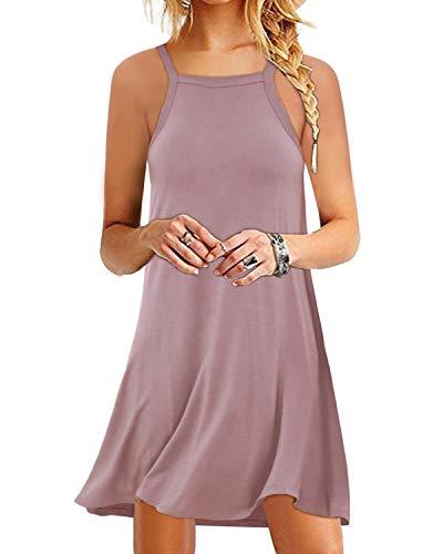 YOINS Sommerkleid Damen Tunika Tshirt Kleid Bluse Kurzarm MiniKleid Boho Maxikleid Rundhals (Ärmellos-Rosa, EU46) - Kurzarm-seiden-tunika