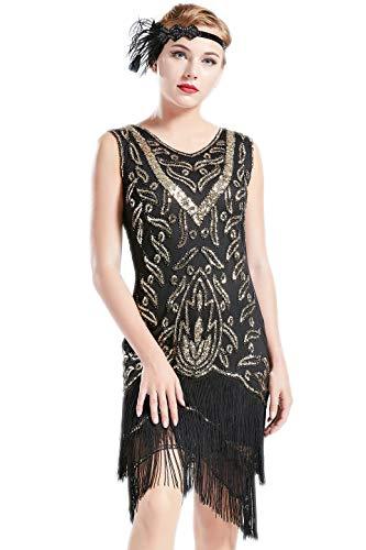 Coucoland 1920s Kleider Damen Retro Pailletten Kleid mit Troddel V Ausschnitt Great Gatsby Cocktail Party Kleider Damen Fasching Charleston Kostüm Kleid (Gold Schwarz, S) (Damen 1920's Kostüm)