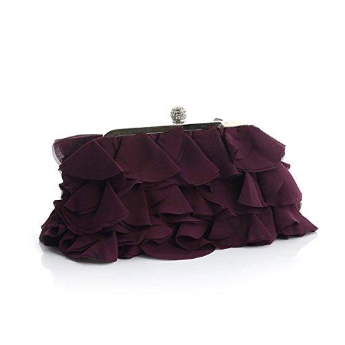 8dc55ea189252 Damen Bankett Abendkleid Tasche Chiffon Abendtaschen Diamond Bridal Bag  Catwalk Chain Bag Purple