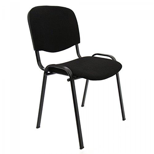 Sedia da ufficio poltrona fissa per sala attesa metallo e cotone/panno colore nero confezione da 1pz
