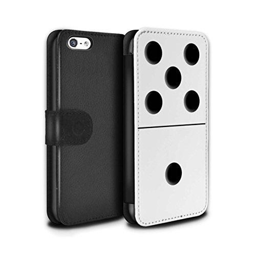Stuff4 Coque/Etui/Housse Cuir PU Case/Cover pour Apple iPhone 5C / Tuile Blanc 5/1 Design / Domino/Dominos Collection Tuile Blanc 5/1