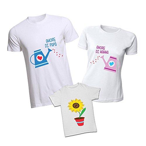 Altra marca tris di t-shirt magliette bianche estive personalizzate per padre madre e figli doppio amore - uomo m donna l bimbo 3-4 anni