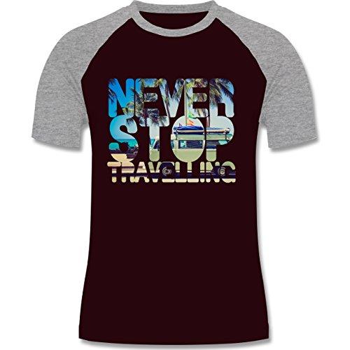Statement Shirts - Never Stop Travelling Meer Palmen - zweifarbiges Baseballshirt für Männer Burgundrot/Grau meliert