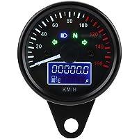 Qiilu ql06127universal 0~ 160km/h Moto Digital LED LCD tacómetro velocímetro velocidad calibre Retro Negro