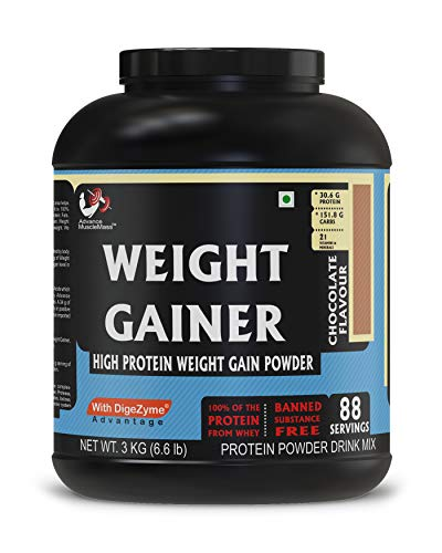 Advance MuscleMass High Protein Weight Gainer Supplement Powder (Chocolate, 3 Kg, 88 Servings)