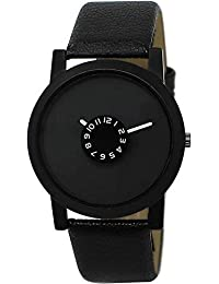 Shine Enterprise Analogue Dial Black Leather Strap Watch For Boys And Men