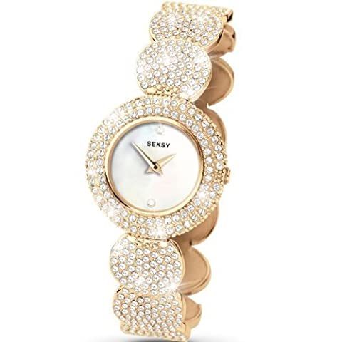 Seksy Wrist Wear by Sekonda Women's Quartz Watch with Mother of Pearl Dial Analogue Display and Gold Coloured Bracelet