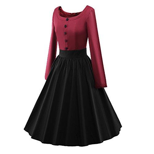 iLover Vintage 50s Pleated Style Color contrast Audrey Rockabilly Swing robe de fête de pique-nique WineRed Black