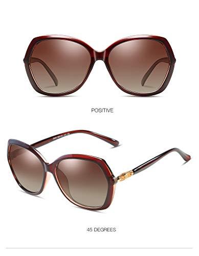ZJWZ Trend polarisiert Sonnenbrillen großen Rahmen Elegante Sonnenbrillen Qualität Damen polarisierte Sonnenbrille,teaframedoubletea