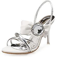 zhENfu Club de Mujeres sandalias zapatos de cuero Seda Glitter Vestido de Novia parte &Amp; Club de noche zapatos de raso brillante Flor Glitter Stiletto talón,Blanca,US6.5-7 / UE37 / UK4,5-5 / CN37