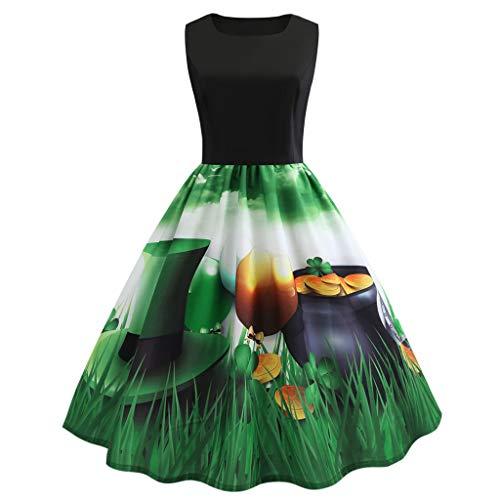 Mymyguoe St Patrick's Day Kleider Damen 1950er Retro -