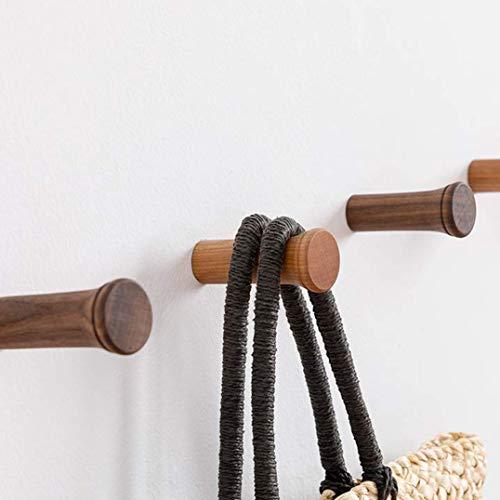 HomeDo Wandhakenleiste, Holz, Wandmontage, Hutablage, dekorative Haken, Einzel-Organizer, Kleiderhaken, Hut-Handtuchhalter, Schwerlast-Haken 2inch Cherry Wood-3pack