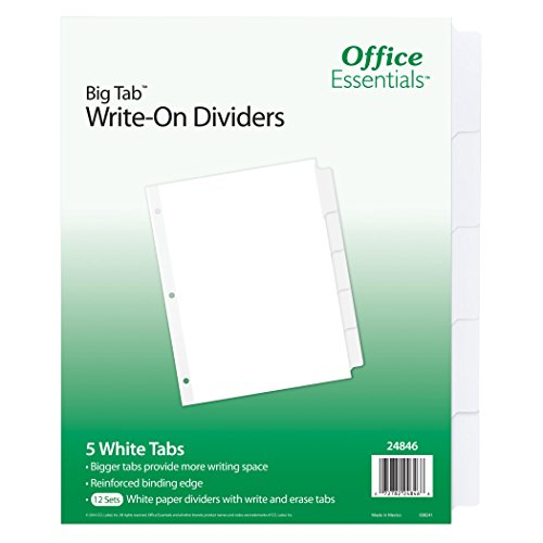 Office Essentials Big Tab beschriftbare Trennblätter, 8-1/5,1x 27,9cm 5Tab, 12Stück TAB, weiß (24846) - Teiler Weiß Tab 5