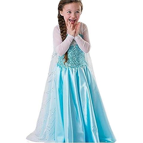Princesa Frozen- Traje de niñas / traje de la princesa de la nieve - Azul - Talla 92-98 (100 cm)