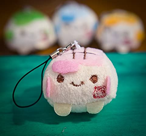 Schlüsselanhänger Ddung Puppe, mit süßen Stiefeln und Rock, mit Strass, unschuldiger Look, Spielzeug, weicher flauschiger Baumwollstrick, Tofu - Pink, 4 cm