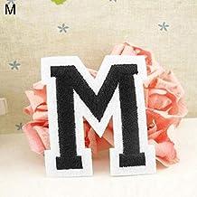 Parche bordado con la letra del alfabeto inglés, para coser o planchar M