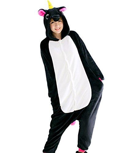 Schwarzes Kostüm Einhorn (Triseaman Erwachsene Halloween Cosplay Pyjama Einhorn Kostüm Onesie Freizeitkleidung 13 Farben Schwarz Pegasus)