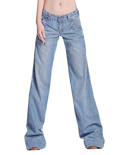 09900e6c0a8 Femmes 60S 70S Large Pattes Flare Denim Pantalon Fusées Hippie Vintage  Bootcut Long Jeans Bleu clair