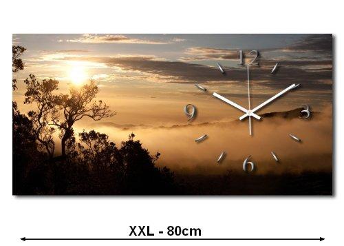 Sonnenuntergang XXL Designer Funk leise Wanduhr Funkuhr modernes Design * Made in Germany* WA090FL-X