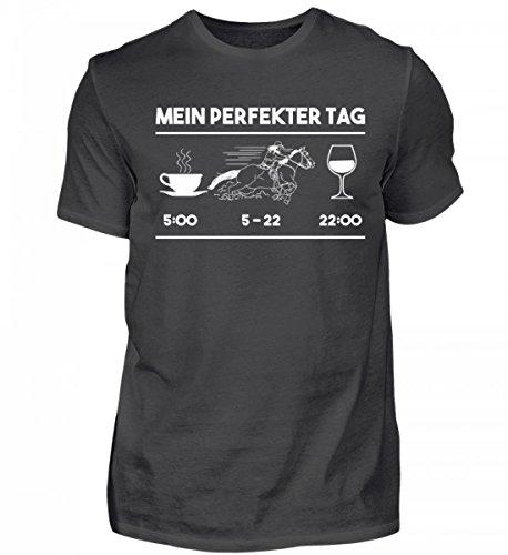 Hochwertiges Herren Premiumshirt - Pferde Shirt · Geschenk für Reitsport Fans · Pferd Motiv: Mein Perfekter Tag