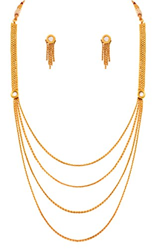 JFL - Traditional Ethnic Multi Strand One Gram Gold Plated White Kundan Designer Necklace Set with Earring for Girls and Women  available at amazon for Rs.398