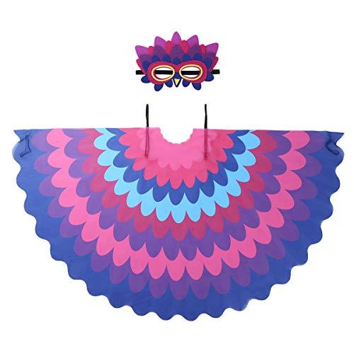 Junge Vogel Kostüm - YiZYiF Unisex Karneval Vogel Flügel Kostüm Pfau Schwanz Bunt Umhang Cape mit Augenmaske Jungen Mädchen Cosplay Halloween Fasching Kostüm Outfits Set Mehrfabig C One Size