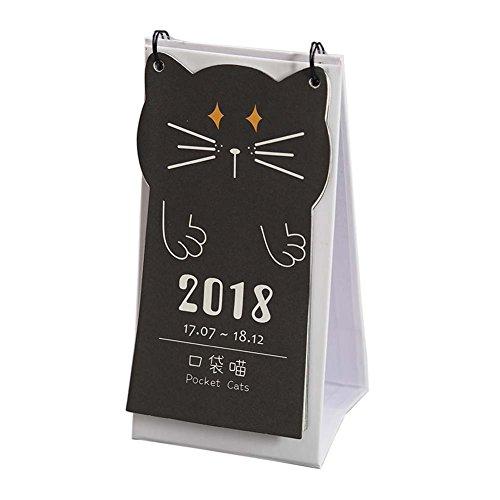 Cute Cat Design Desk Calendar Notepad Cartoon Pocket Calendar Kids Calender 2017-2018, B