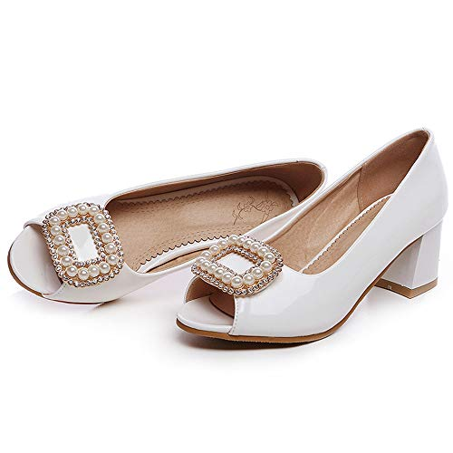 ZPFMM Damen Sandale Peep Toe Low Heel Pumps Slip auf Abend Sandalen Mid Heels,White-EU34/220 Low Heel Slip Heels