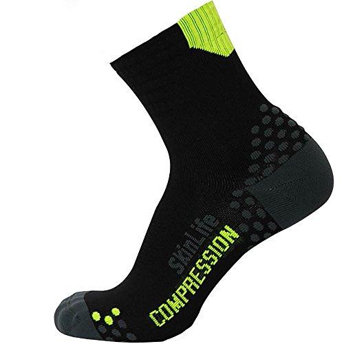 Pure Compression Running Socken-Anti-Blasen-Quarter Länge Sport Socken-Dot Polsterung Technologie, Herren Damen Unisex-Erwachsene, Schwarz/Gelb, Small/Medium -