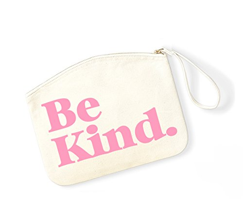 Be Kind - Fun Slogan, Make Up Pouch, Accessory Organiser Natural/Pink