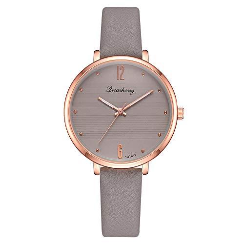 Fulltime Mode Casual Montres en Cuir Horloge de Quartz Horloge Montre pour Femmes Dames (Gris)