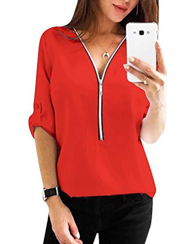 YOINS Sexy Oberteil Damen Sommer Elegante Langarmshirts Damen Bluse Tunika Frühling T-Shirt V-Ausschnitt Tops EU36-38 Rot(größer Als Reguläre Größe) Small