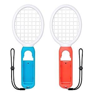 Tennisschläger für Joy Con, fyoung somatosensibel Joy Con Gaming Controller Grip Tennis Schläger für Mario Tennis ASSE, Nintendo Schalter Gameplay 2Pack (Blau, Rot)
