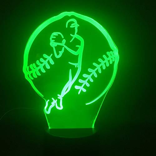 3D Lampe Baseball Trundle Beste Geschenk Kinder liefern direkt Atmosphäre Farbe wechselnde LED Nachtlichtlampe