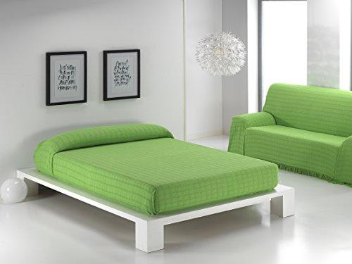 Colcha Multiusos para Cama Sofá Coche Playa con Diseño de Cuadros, Foulard Multiusos 230x260cm Color Verde