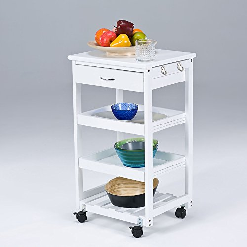 SoBuy FKW01-W Kitchen Shelf Unit / Trolley with Castors and Drawer Pine Wood White